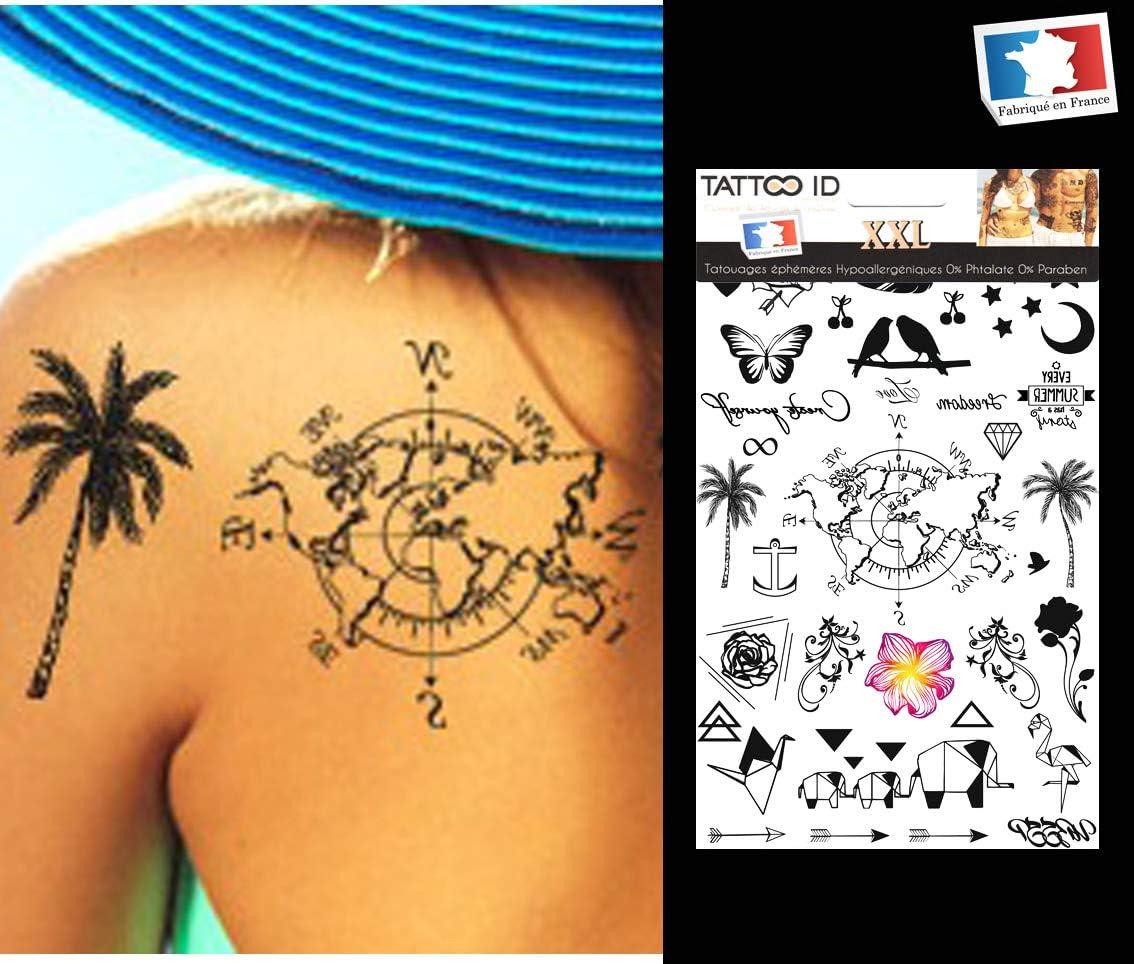 Tattoo ID XXL mujer mapamundi palmera mariposa estrella Phrase ...