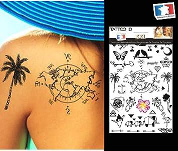 Tatouage Ephemere Temporaire Femme Planisphère Palmier Papillon étoile Phrase Origami Ancre Plume Tattoo Id Xxl Hypoallergénique Fabriqué En France 1