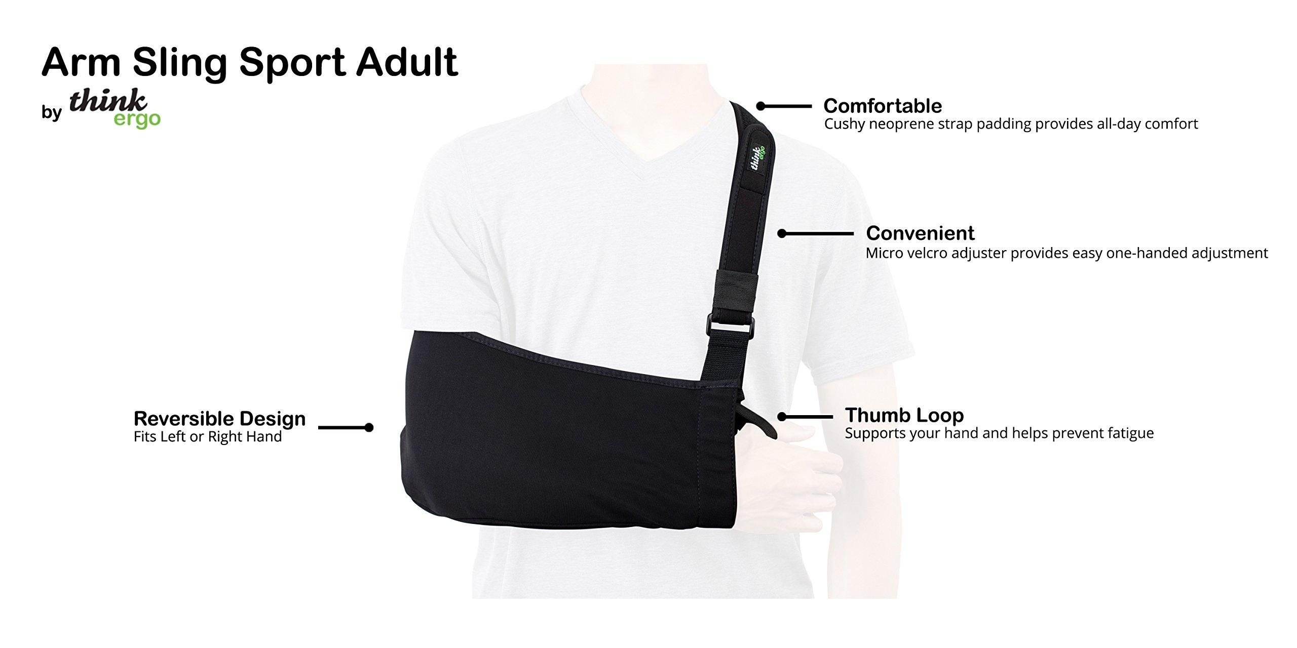 Think Ergo Arm Sling Sport - Lightweight, Breathable, Ergonomically Designed Medical Sling for Broken & Fractured Bones - Adjustable Arm, Shoulder & Rotator Cuff Support (Adult) by Think Ergo (Image #2)
