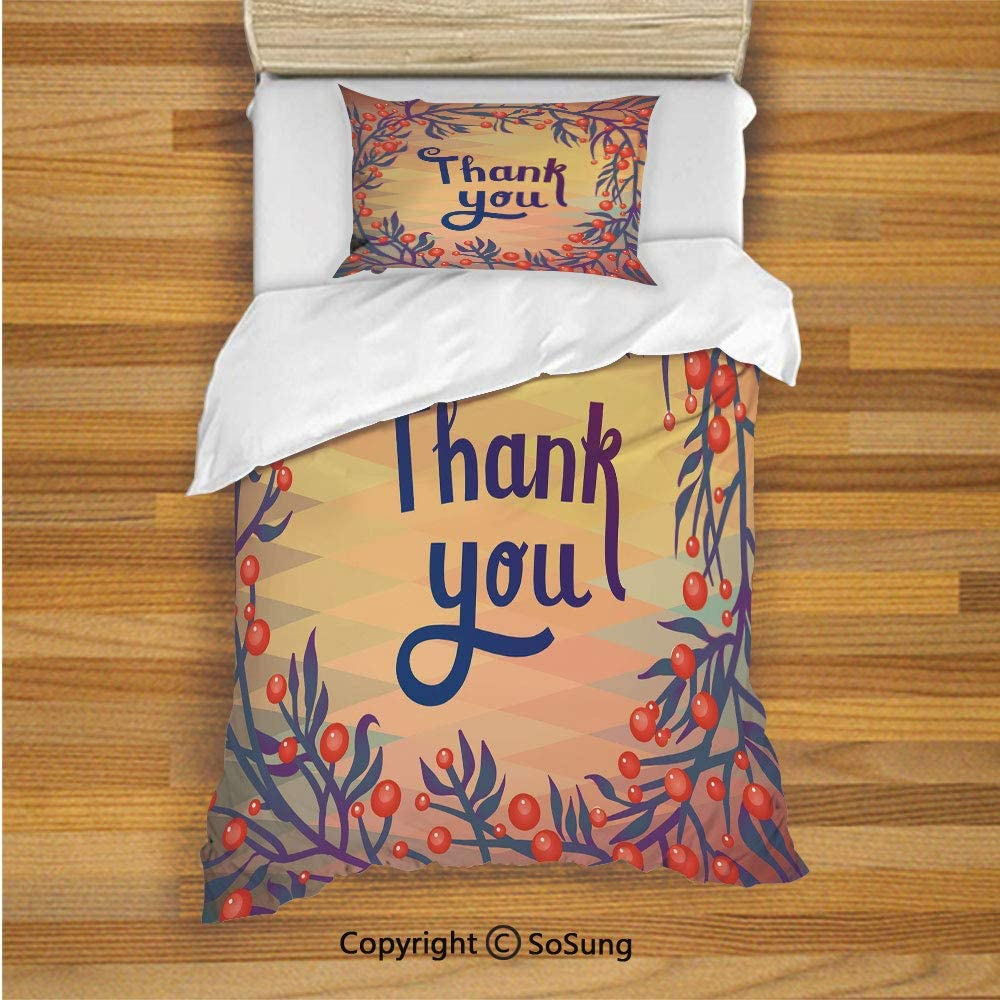 SoSung Nature Decor Kids Duvet Cover Set Twin Size, Christmas Time Red Flower with Leaves Ivy Geometric Background with Thanx Note 2 Piece Bedding Set with 1 Pillow Sham,Multicolor