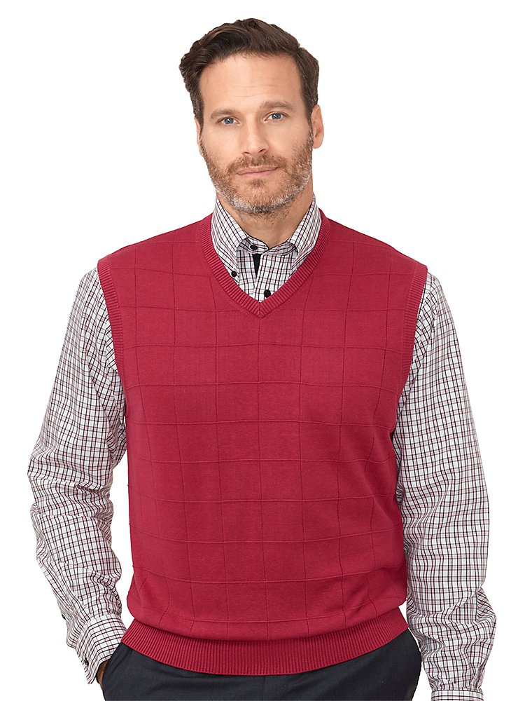 Paul Fredrick Men's Silk Grid V-Neck Vest Berry Large by Paul Fredrick