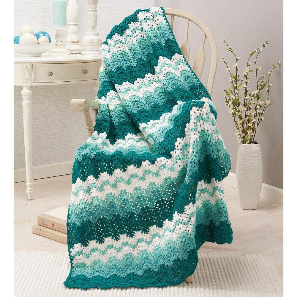 Herrschners Sea Foam Crochet Afghan Kit