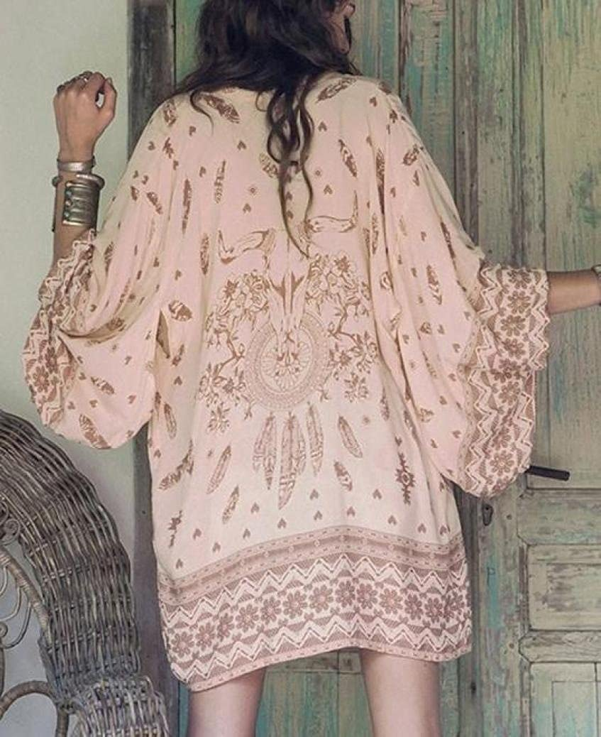 KaloryWee Women Boho Printed Chiffon Loose Shawl Kimono Cardigan Tops Cover up Blouse