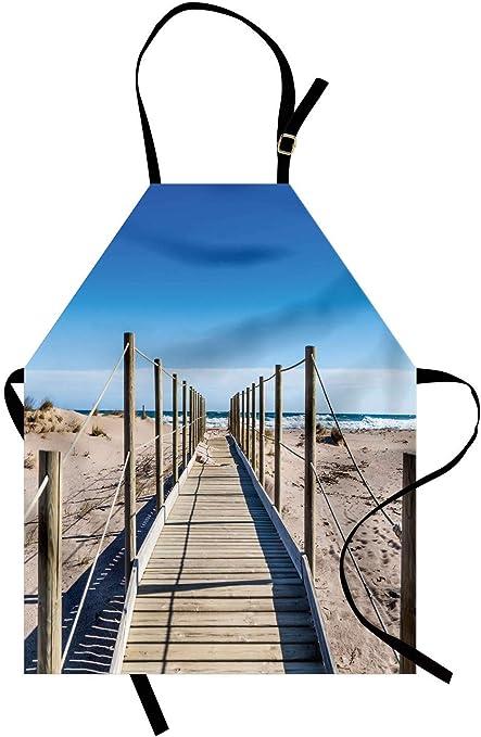 Delantal de playa, Playa vacía con camino Cielo mediterráneo Sereno Tranquilo Tema de la paz de verano, Unisex Delantal con pomo de cocina con cuello ajustable para cocinar Hornear Jardinería, Azul cr: