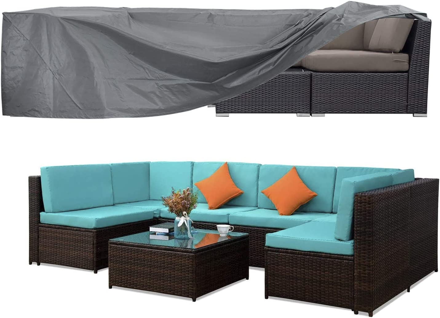 Patio Furniture Set Cover Outside Sectional Sofa Set Covers Outdoor Table and Chair Set Covers Water Resistant Heavy Duty 128