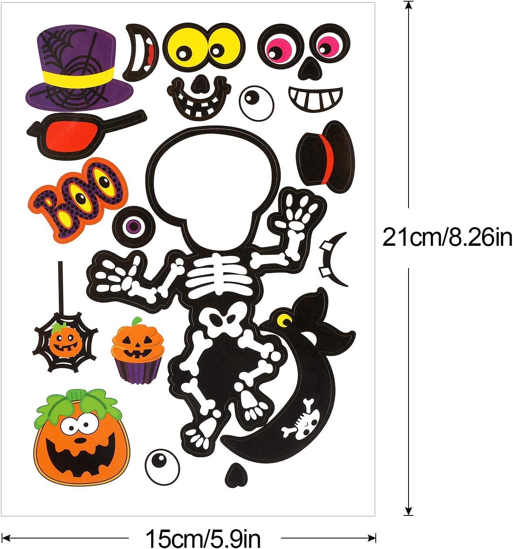Konsait 24 Sheets Halloween Make Your Own Stickers Decorative for Kids Ghost Festival Sticker Mix and Match Pumpkin Skull Sticker Halloween Party Favors Crafts Supplies