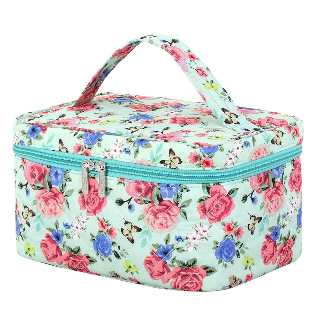 Cosmetic Organizer Flowers, Pataya Printing Series Cute Floral Makeup Bag for Travel Toiletry Organizer (Flowers_Green)
