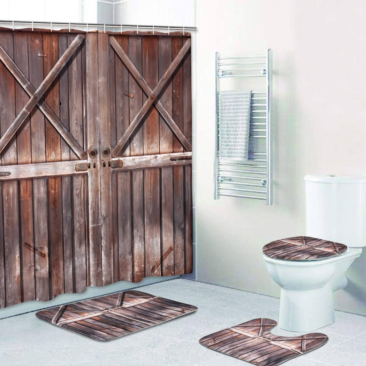 4PCS Rustic Wood Farm House Shower Curtains Sets with Toilet Cover Rugs Bath Mat