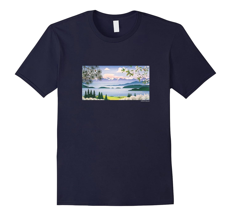 Monte Dolack Cherry Blossoms Flathead Lake Montana T-shirt-Art