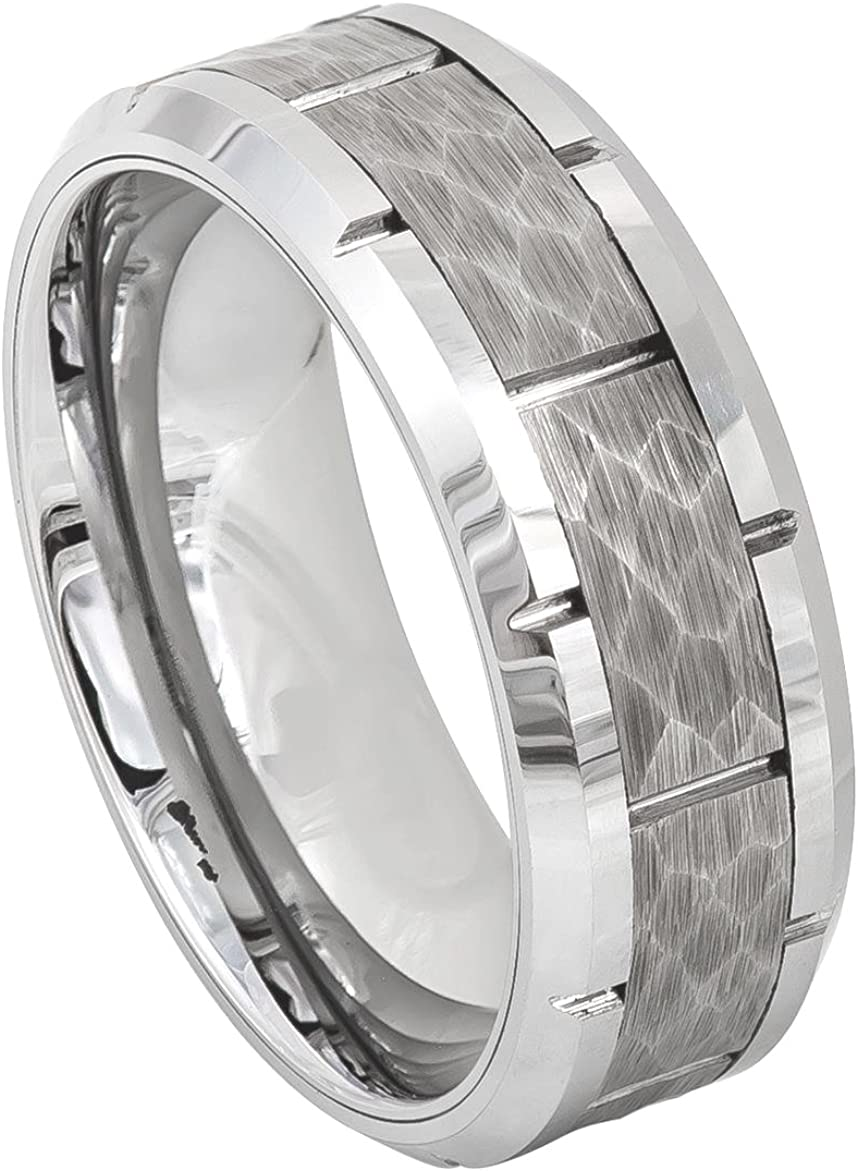 Mens 8mm Beveled Knotched Edge Wedding Band Hammered Finish Multi Grooved Center High Polished Comfort Fit Tungsten Carbide Anniversary Ring