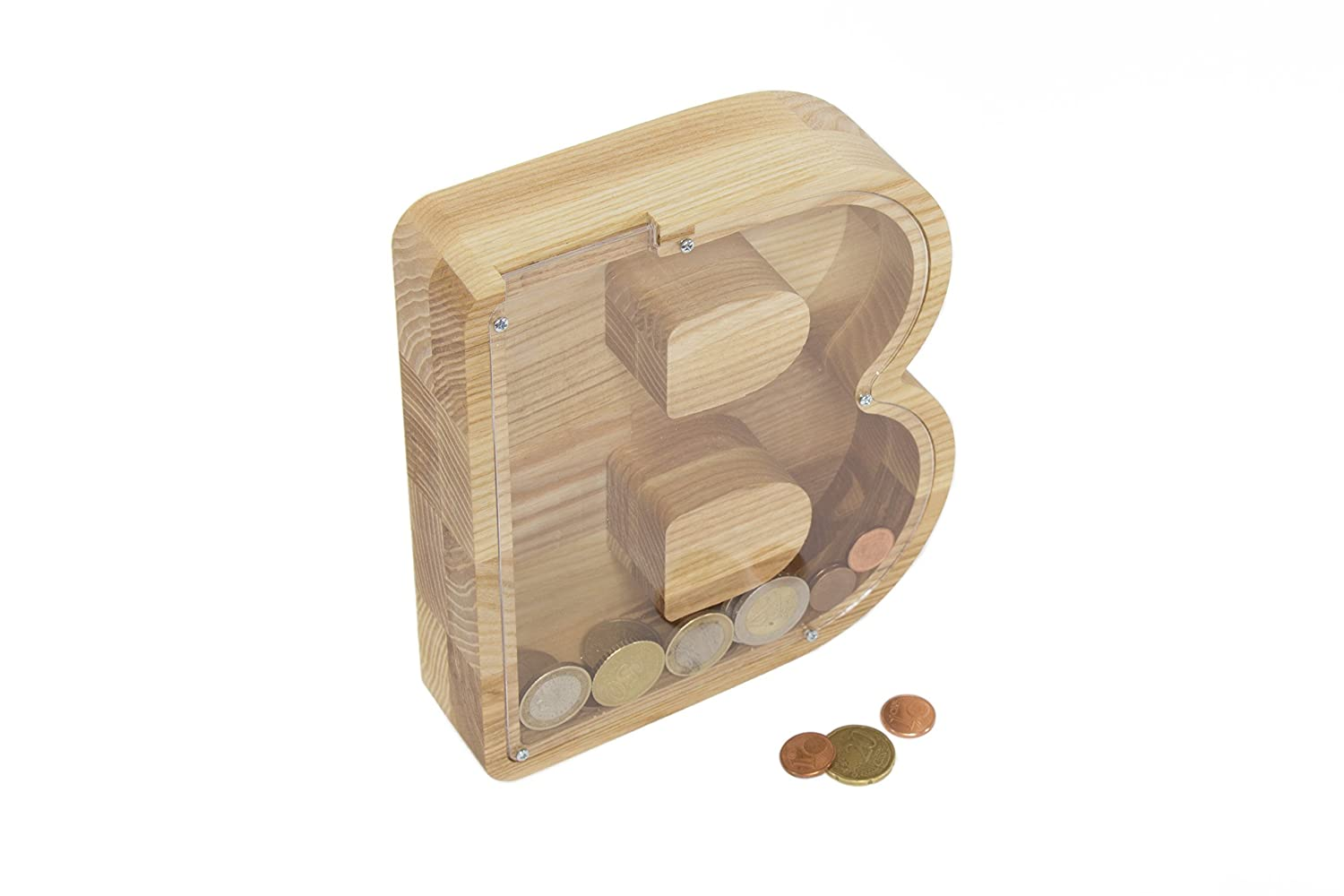 B Letter Money Box 6.2x7x1.6 inches - Child Money Box - Wooden Money Box - Wooden Money Bank - Baby Piggy Bank - Kids Piggy Bank - Baby Birth Gift