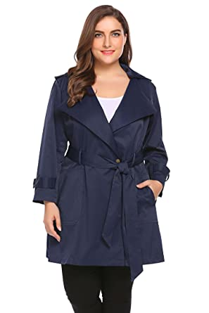 888c996896b Bifast Plus Size Women s Trench Coat Long Jacket Winter Windbreaker  Overcoats Size 14 Hoodie