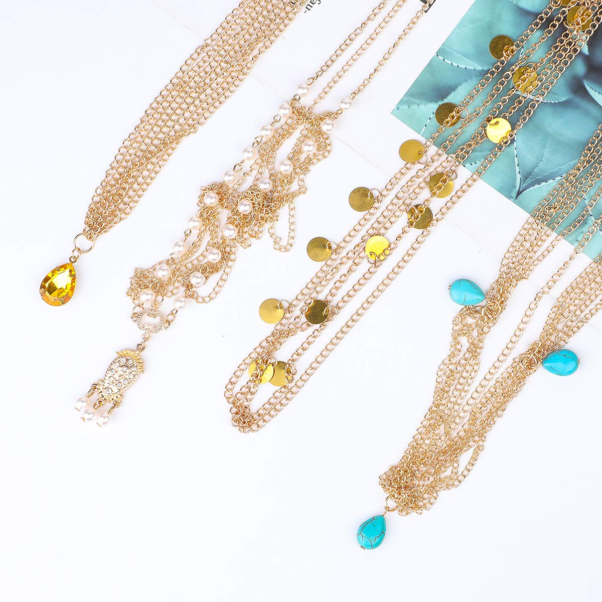 3 Designs Festival Hippy Boho Indian Headpiece Hair chain Jewellery Crystal Turquoise Gold Disc