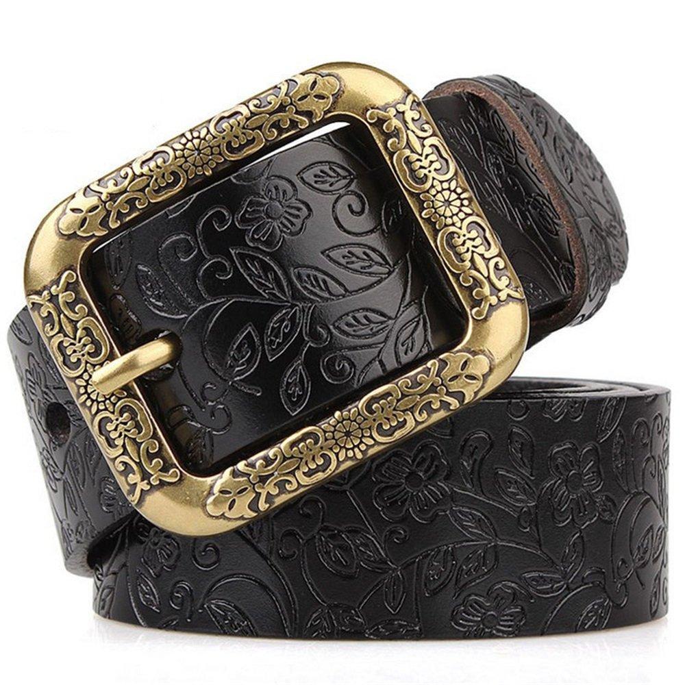 Black Canvas Belt Women's Leather Belts Pure Leather Wide Belt Students Pants Belts (color   Brown, Size   M)