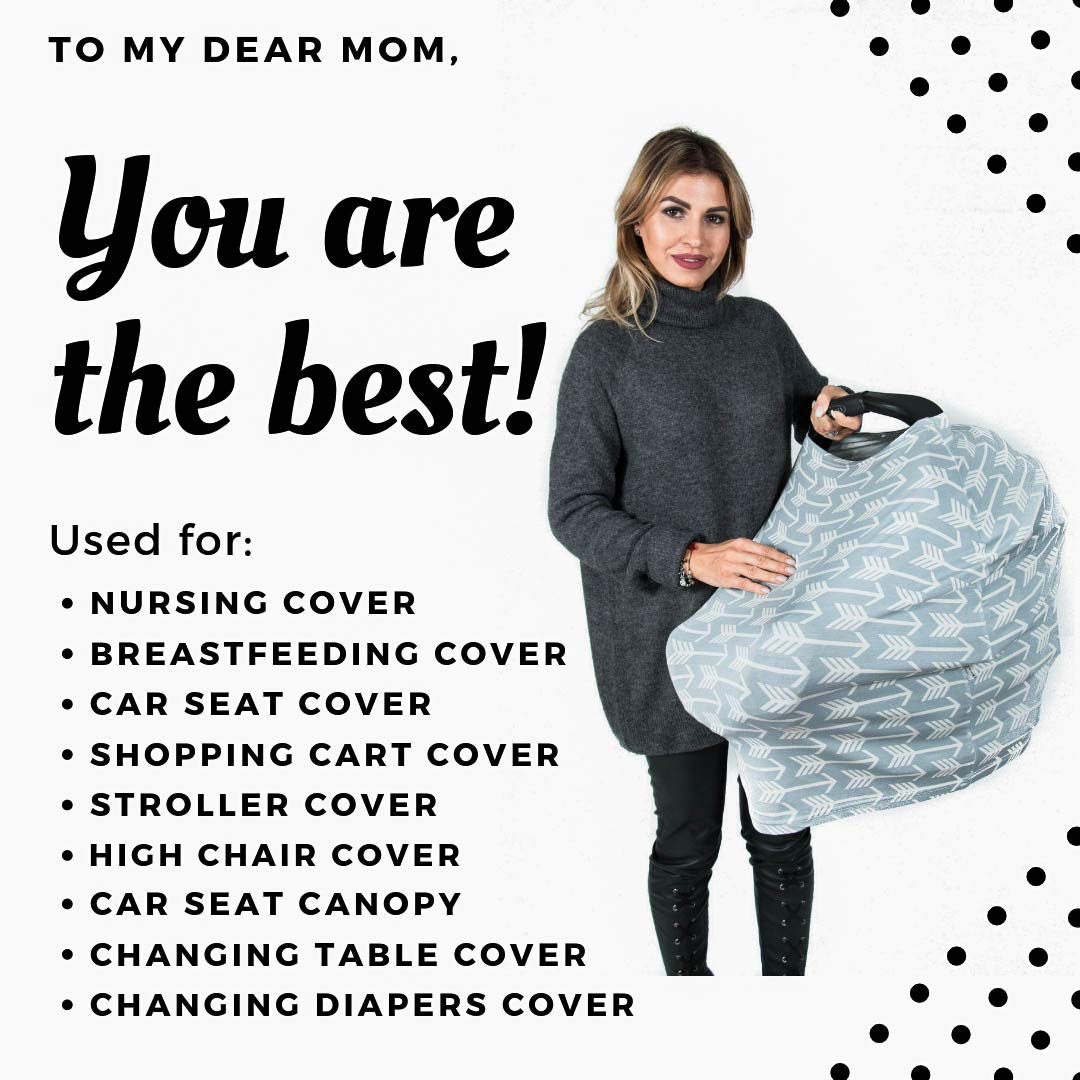 Shopping Cart Stroller and Car Seat Cover for Boys and Girls Arrow Pattern High Chair Car Seat Canopy Best Stretchy Infinity Scarf and Shawl Multi Use Breastfeeding Cover Up Nursing Cover