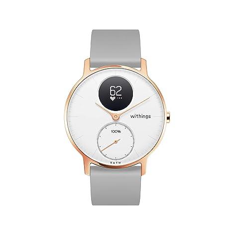 Amazon.com: Withings - Reloj inteligente híbrido de acero HR ...
