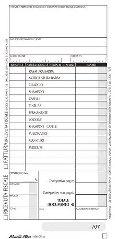da 20 pz. FLEX 1616FCN00 BLOCCO RICEVUTA FISCALE BARBIERE 22X10 conf
