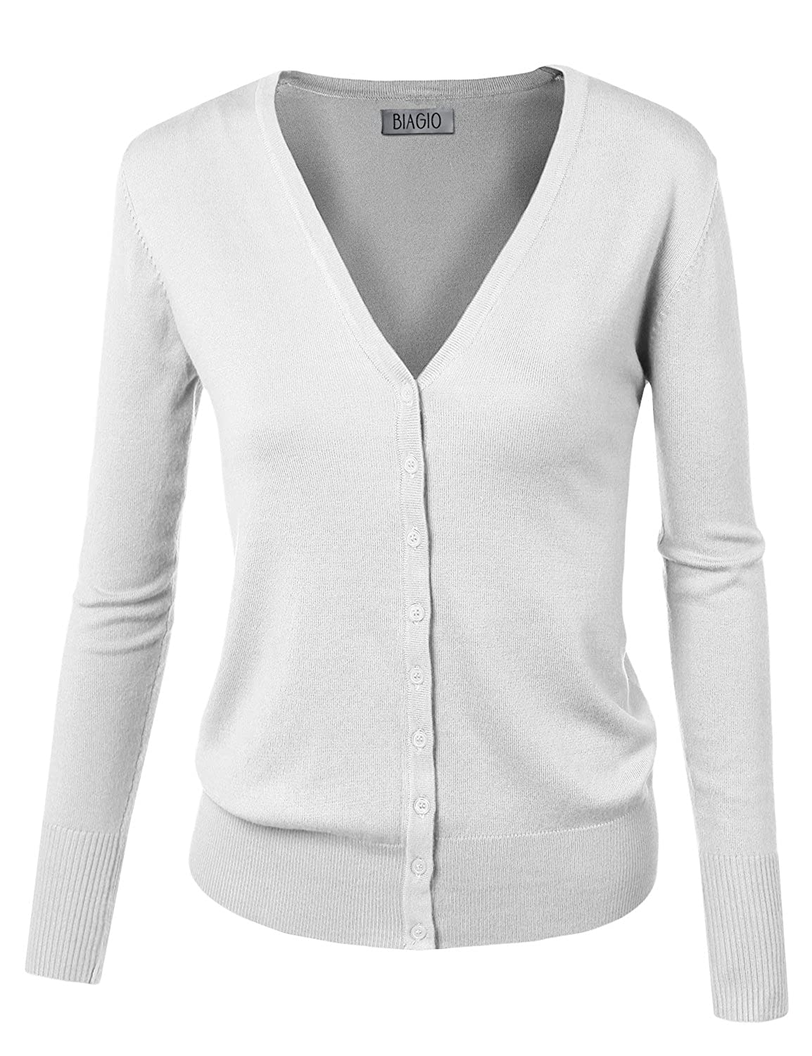 BIADANI Women Button Down Long Sleeve V-Neck Soft Knit Cardigan Sweater