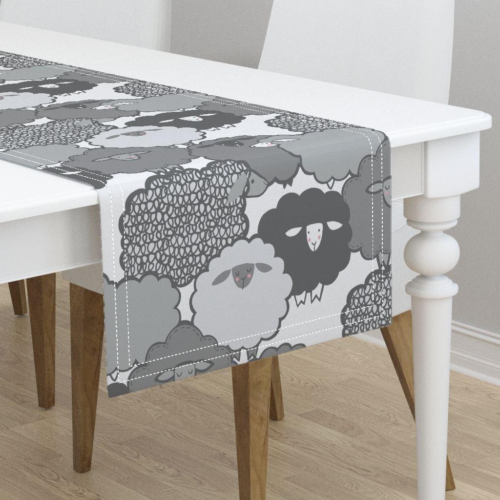 Table Runner - Sheep Farm Animal Gray Children Baby by Leanne - Cotton Sateen Table Runner 16 x 108