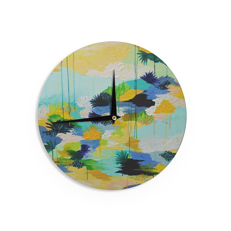 Kess InHouse EBI Emporium Journey to Paradise Yellow Aqua Wall Clock 12