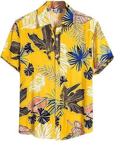 Sylar Camisa Hawaiana para Hombre Verano Casual Slim fit Camisetas Manga Corta Flores Estampado Camisas de Playa Vacaciones T-Shirt Tops M-XXXL: Amazon.es: Ropa y accesorios