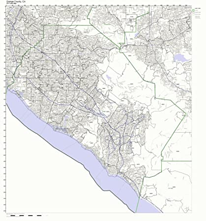 Orange County, California CA ZIP Code Map Not Laminated on
