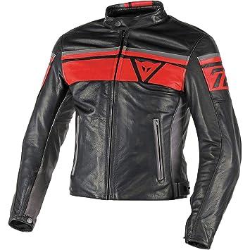 info for 37b69 cb46a Dainese-BLACKJACK Giacca da moto in pelle, Nero/Rosso/Smoke, Taglia 52