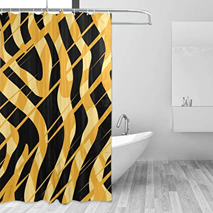 Image Unavailable Not Available For Color GOEPULY Abstract Tiger Print Bathroom Curtain