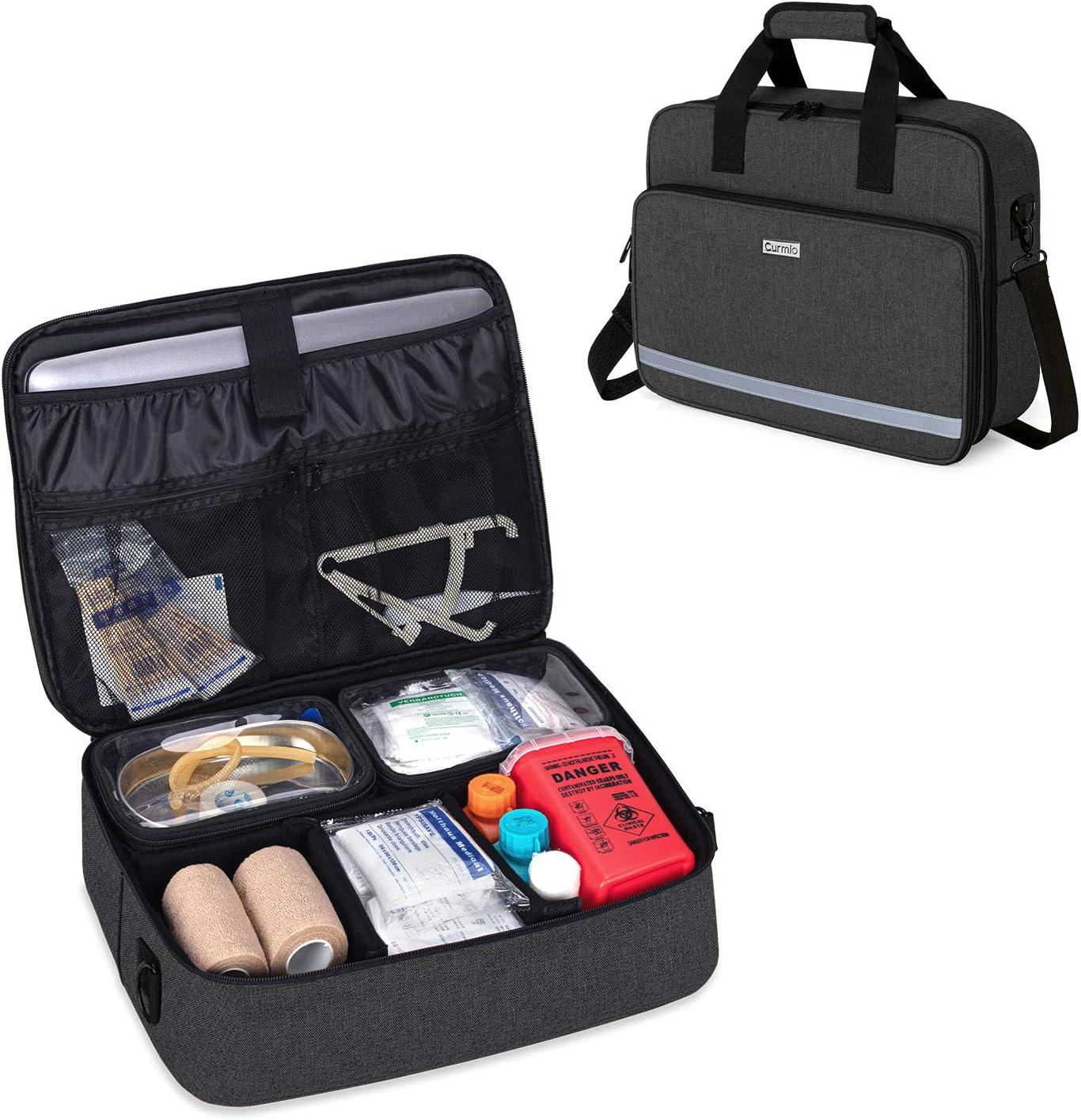 CURMIO Nursing Bags for Nurses Home Health, Small Medical Supplies Bag with 2 Detachable Transparent Pouches for Home Visits, Health Care, Hospice, Black