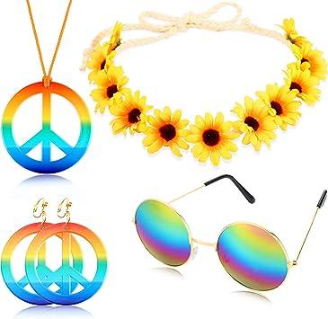 Geyoga 4 Pièces Ensemble de Costume Hippie Comprenant Collier de Signe de Paix Boucles d'oreilles Bandeau de Tournesol et Lunettes de Soleil Rondes