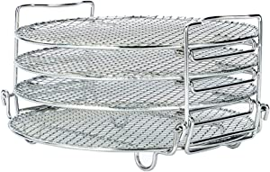 Food Dehydrator Stand Racks for Gowise Phillips USA Cozyna Ninjia Airfryer, Fit all 4.2QT - 5.8QT and above air fryer,Dehydrator Rack for Air Fryer Oven & Pressure Cooker to Dehydrate Fruits, Meats, Veggie Chips With 4 Stackable Layers, Food-Grade Stainless Steel Drying Rack Stacker Trays