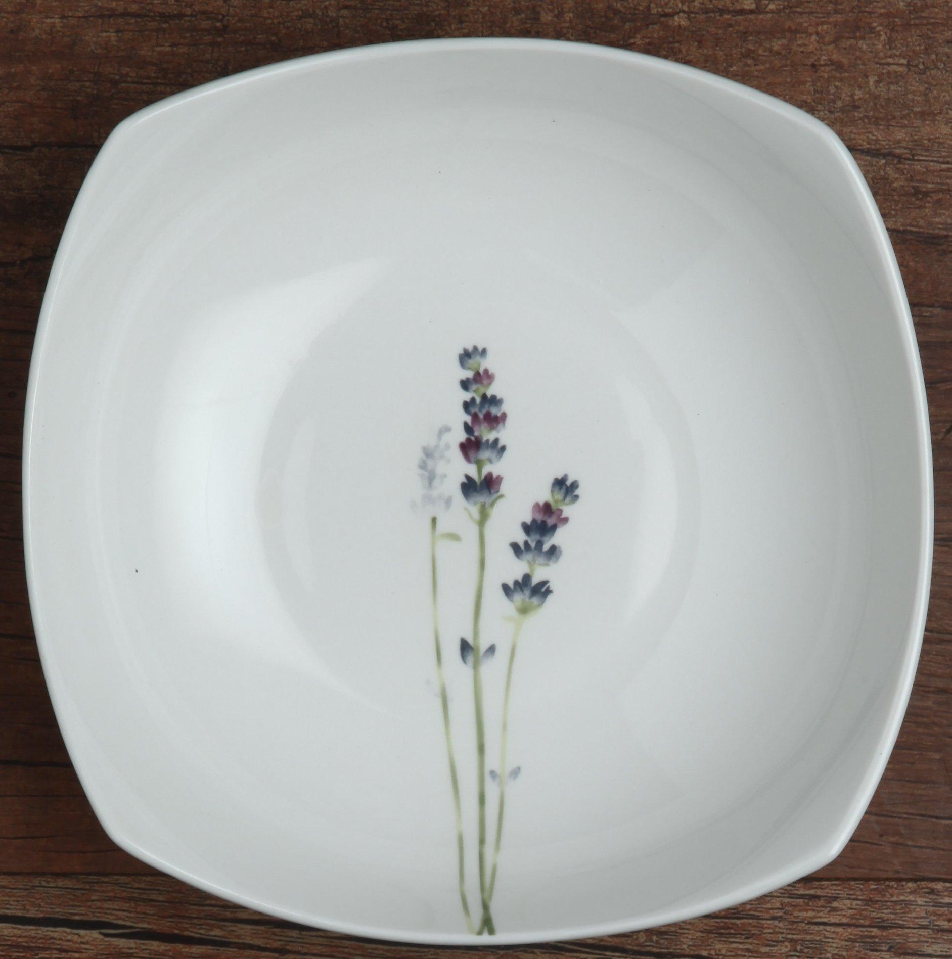 Melange Square 32-Piece Porcelain Dinnerware Set (Lavender) | Service for 8 | Microwave, Dishwasher & Oven Safe | Dinner Plate, Salad Plate, Soup Bowl & Mug (8 Each) by Melange (Image #3)