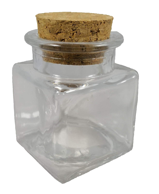 12x Barattoli bomboniera confettata in vetro quadro quadrato con sughero 4cm Subitodisponibile