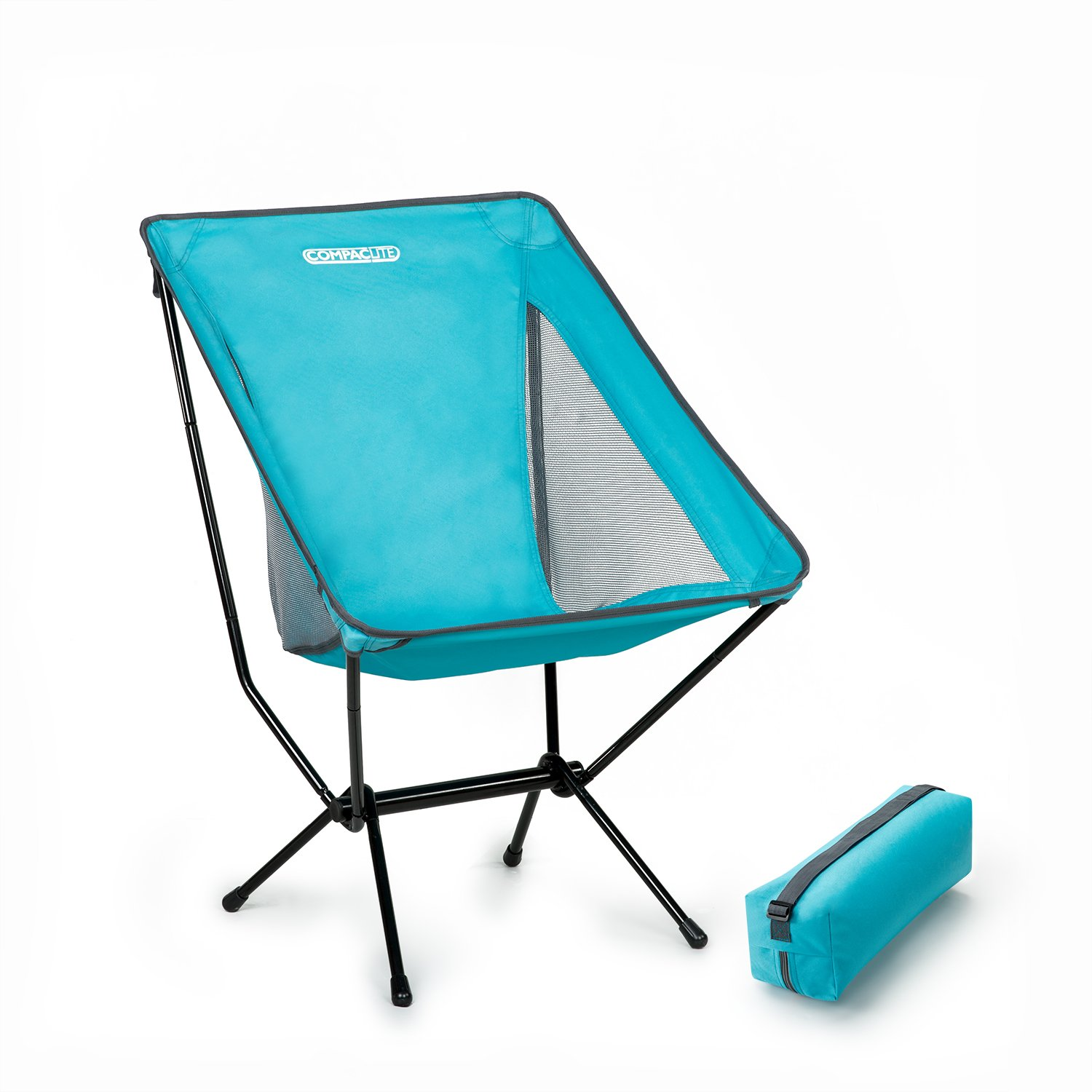 Compaclite Steel Camping Portable Chair with mesh Side Panels and Carry Bag, Deluxe - Bright Blue Sleep Revolution AMZ-13BM-BB