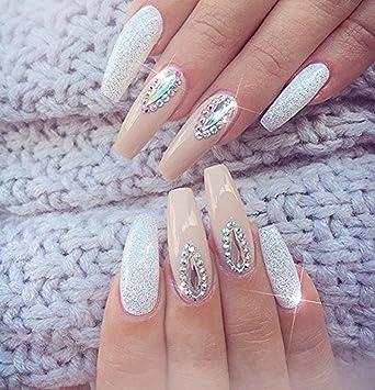 Yimart - 500 uñas postizas de bailarina larga con cubierta completa para uñas, uñas postizas de coffin ABS artificiales DIY falsas uñas de gel UV, ...