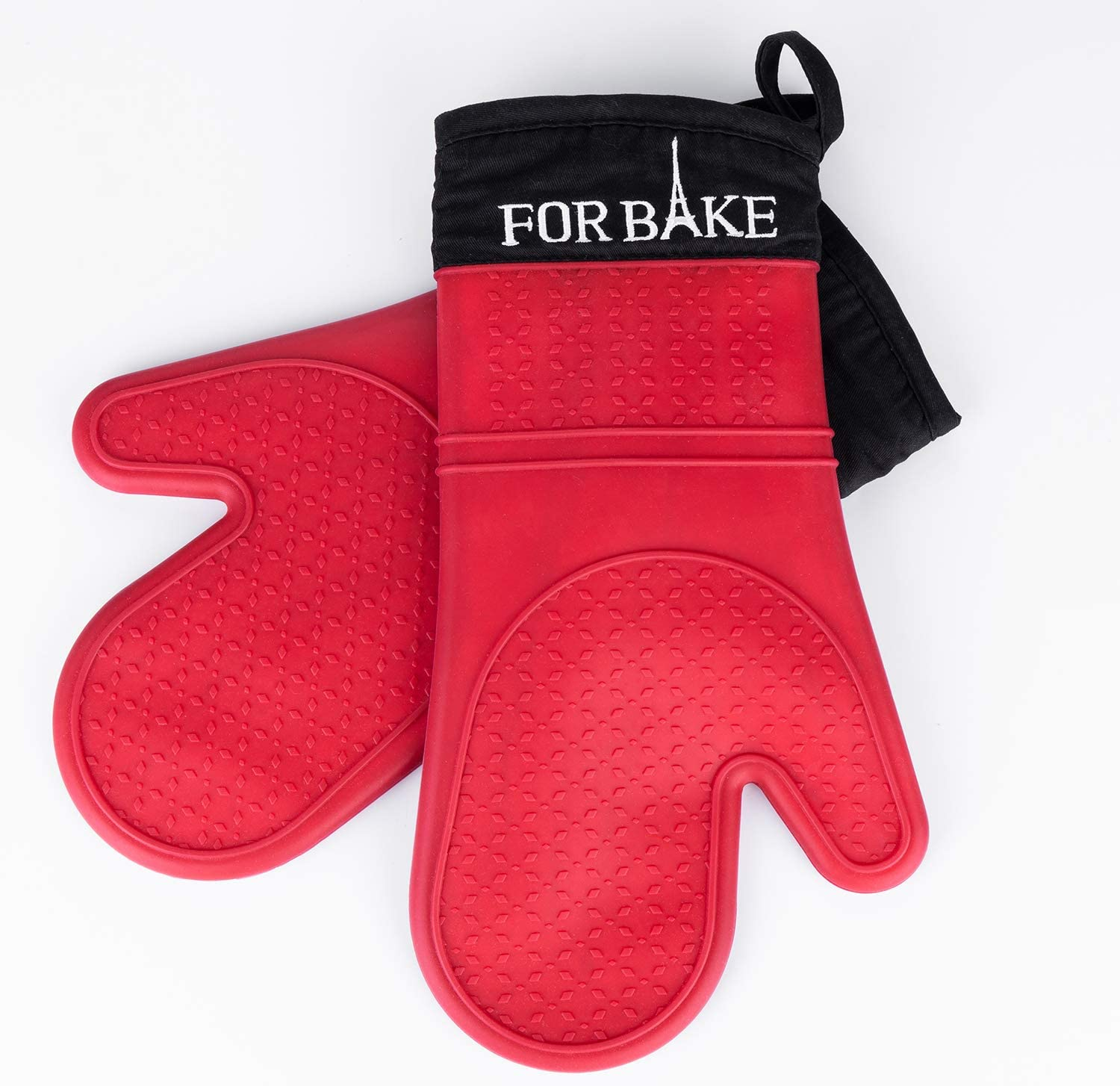 "Forbake Red Silicone Oven Mitts Heat Resistant Kitchen Baking BBQ Gloves FDA Approved Silicone BPA Free Oil Proof Oven Mitts -13.5""×7 2pack"