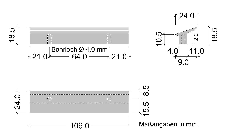 distancia entre ejes: 32 mm, aluminio Tirador para muebles y armarios color negro y antracita Gedotec GR10090