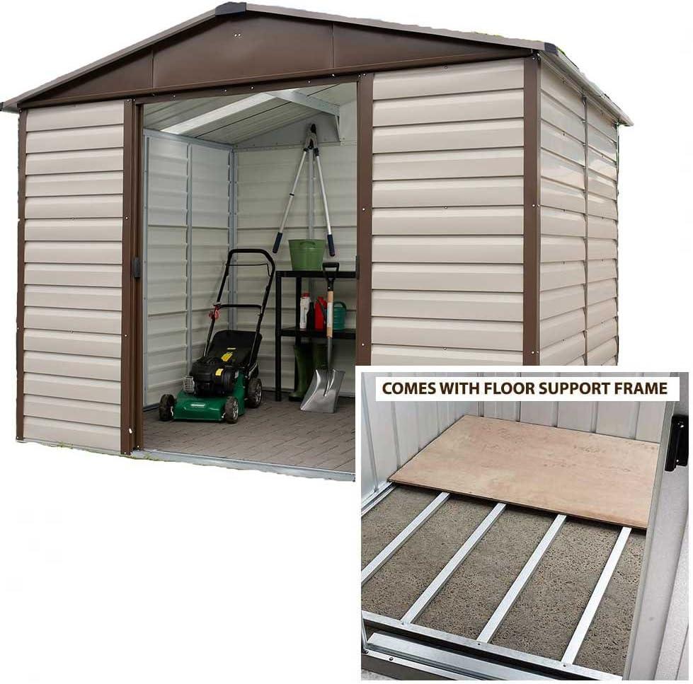 Yardmaster cobertizo (10 x 8 Apex Metal caseta de jardín con marco ...