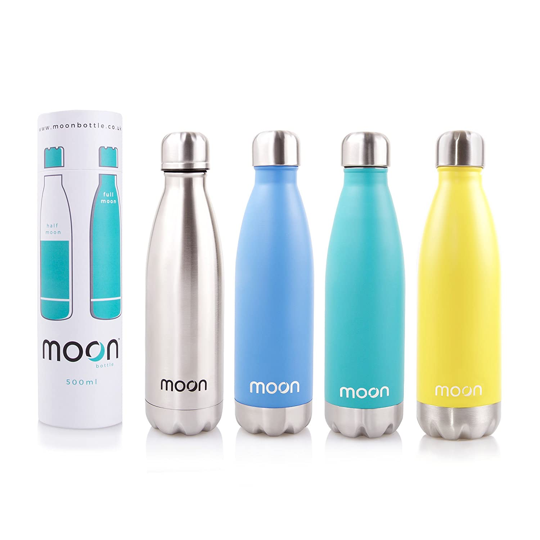 Moon Bottle–Thermos a doppia parete in acciaio INOX –freddo per24ore e caldo per 12ore–500ml–100% senza BPA, ottimo per andare in bicicletta e per gli sport, non perde acqua, Aqua MyMoon