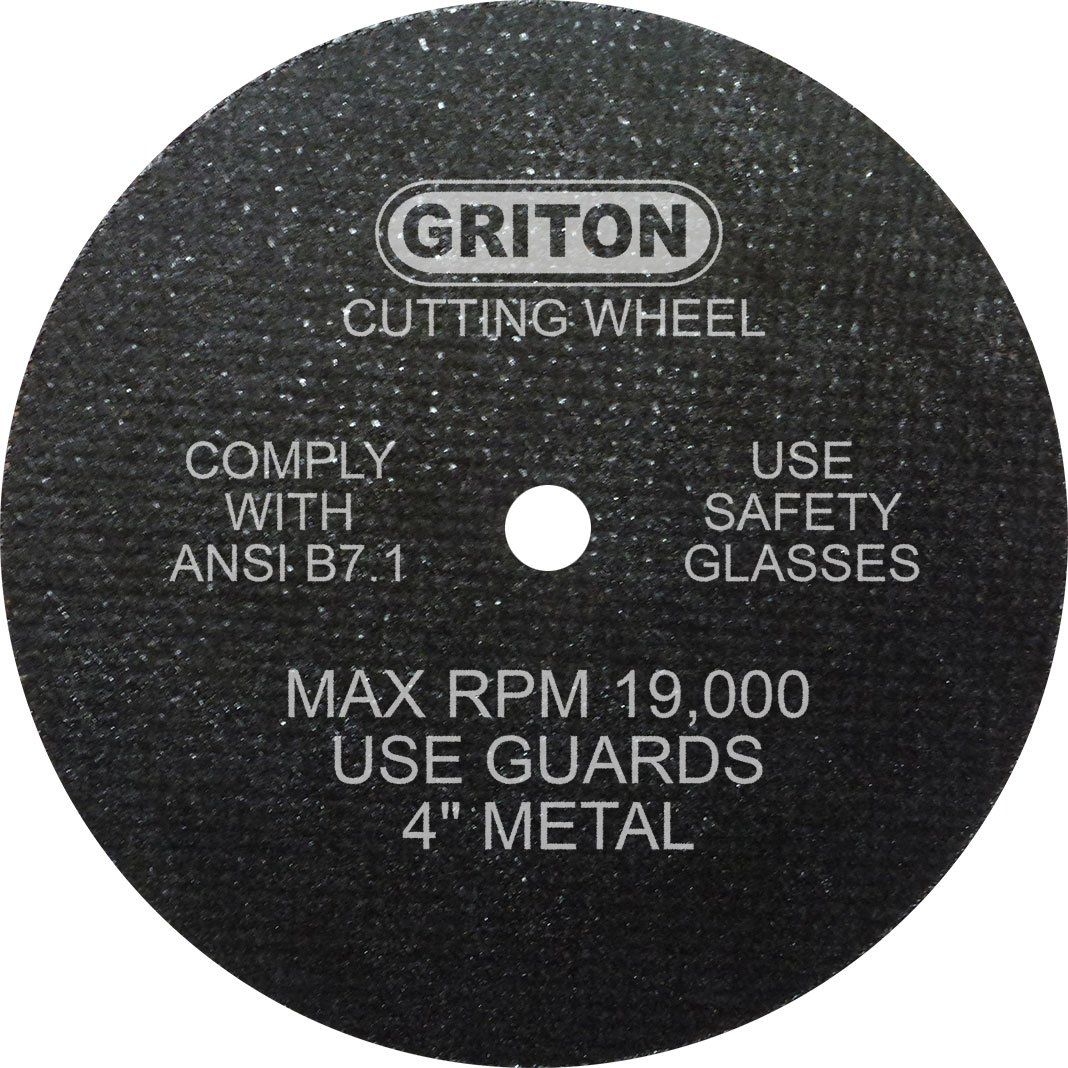 Griton CA4042 Arbor Industrial Cut Off Wheel for Metal, 1/4'' Hole Diameter, 4'' Diameter, 1/16'' Width (Pack of 50)