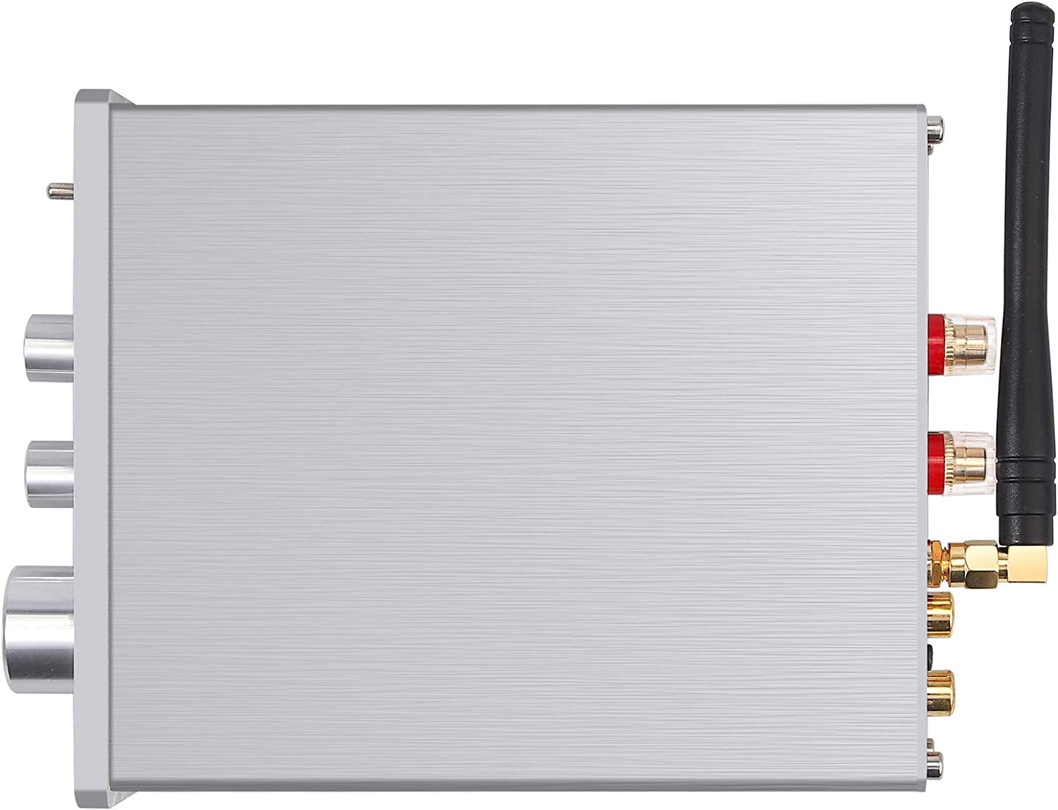 Neoteck Bluetooth Stereo Audio 2 Channel Amplifier Receiver for Home Bookshelf Speakers, Mini Hi-Fi Class D Integrated Amp 2.0CH 100W x 2 with Bass Treble Control TPA3116D2, Brushed Aluminum Fashion