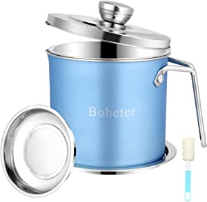 Boheter Bacon Grease Container With Strainer, 1.5 L/1.6 Quart Grease Keeper, 18/8 Stainless Steel Kitchen Oil Storage Container with Dust-Proof Lid for Storing Frying Oil, Used Cooking Oil, Fat - Blue