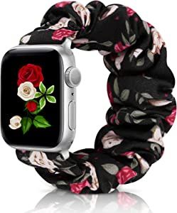 Compatible with Scrunchie Apple Watch Band 38mm 40mm 42mm 44mm, Soft Replacement Elastic Wristband Compatible for iWatch Series 5 4 3 2 1 (I-Red White-42-44 S)
