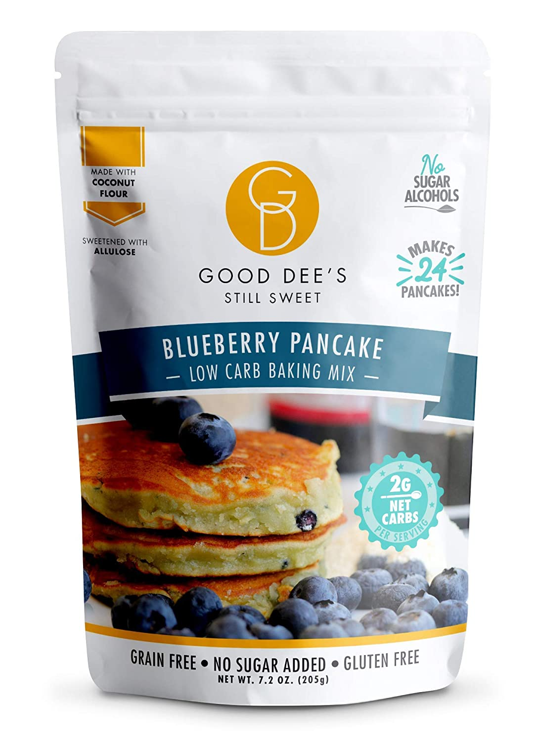 Good Dee's Blueberry Pancake Mix - Low Carb Keto Baking Mix (2g Net Carbs, 24 Pancakes) | Allulose Sweetened, Sugar Alcohol-Free, Gluten-Free & Grain-Free | Diabetic, Atkins & WW Friendly