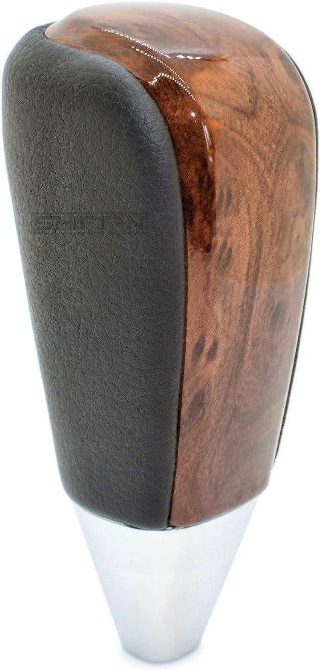 SHIFTIN Leather and Wood Gear Shift Knob for Toyota Land Cruiser 4Runner Sequoia Tundra and Lexus Gray Leather//Dark Brown