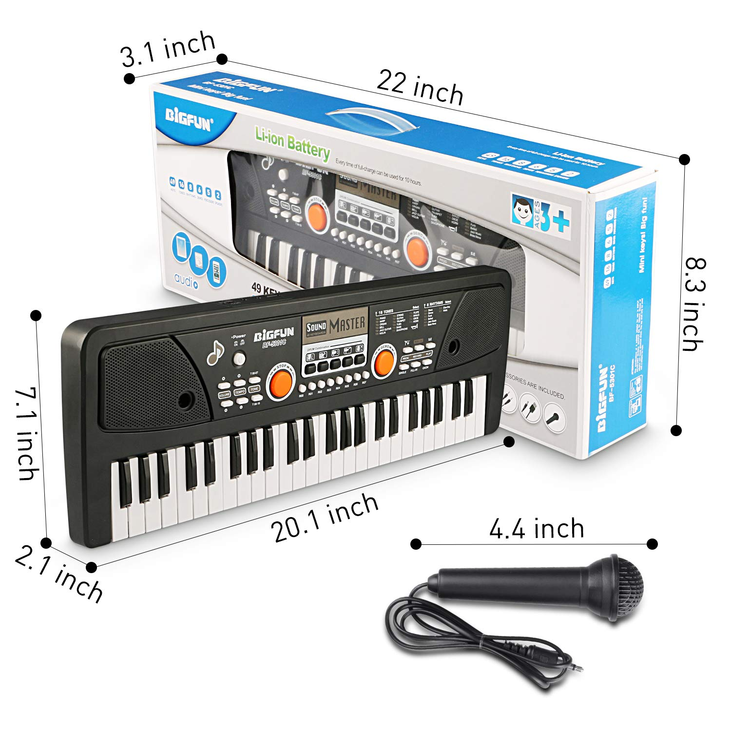 Kids Piano Keyboard 49 Keys- Multi-function Portable Piano Keyboard Electronic Organ with Charging function for Kids and Beginners Chargeable by Tencoz (Image #8)
