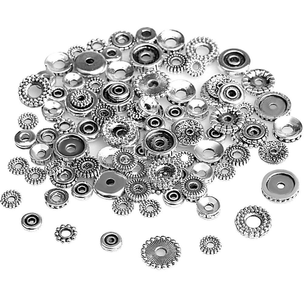 Hugesavings 100 Gram Antique Tibetan Silver Findings Spacer Beads, European Style Beads Jewelry Making Metal Bead Caps Deluxe 4336827986