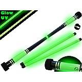 Flames N Games MOONSHINE Glow Devil Stick Set + Glow Wooden Sticks! Juggling Devil sticks