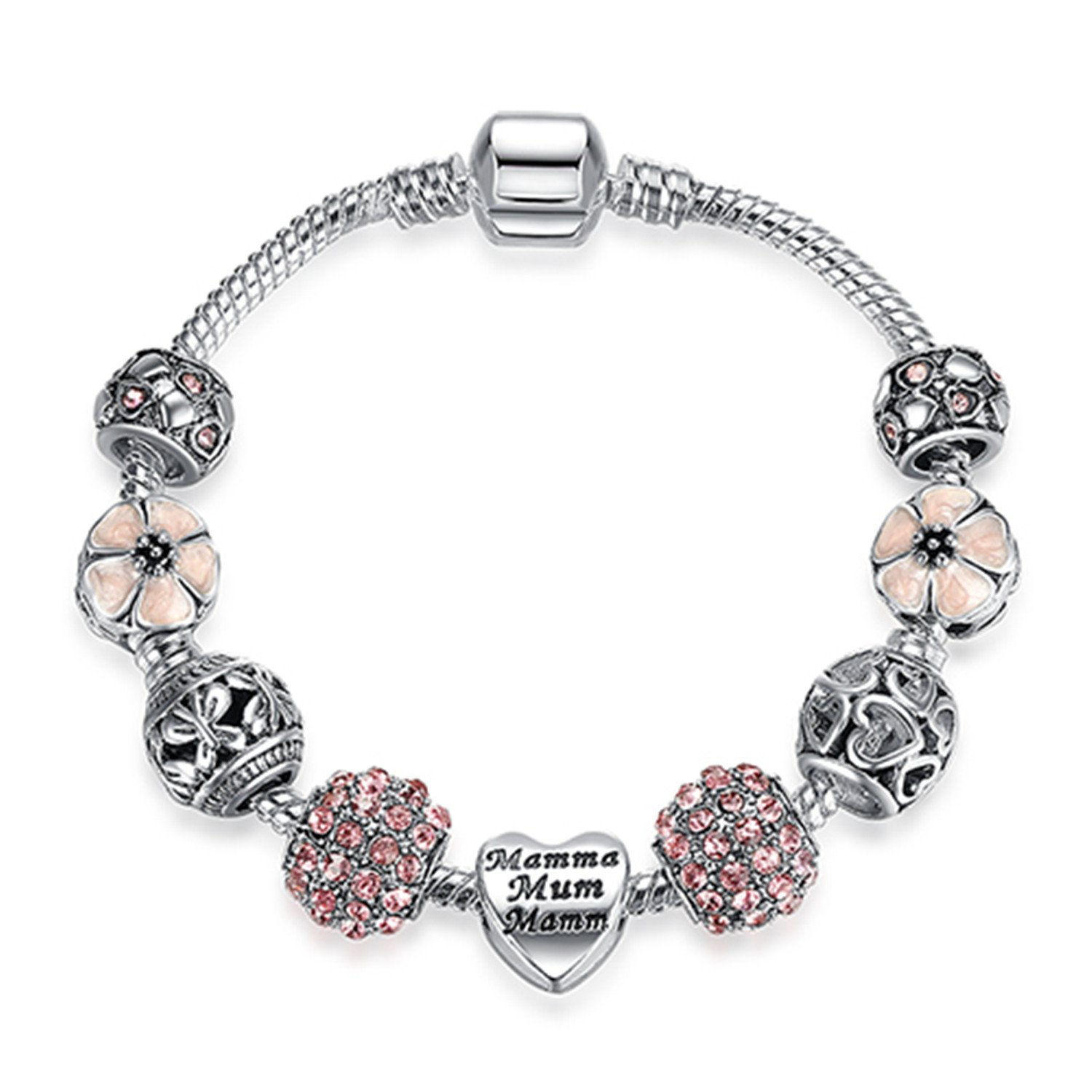 Silver 925 Crystal Four Leaf Clover Bracelet with Clear Murano Glass Beads Charm Bracelet Bangle PS3808 21cm
