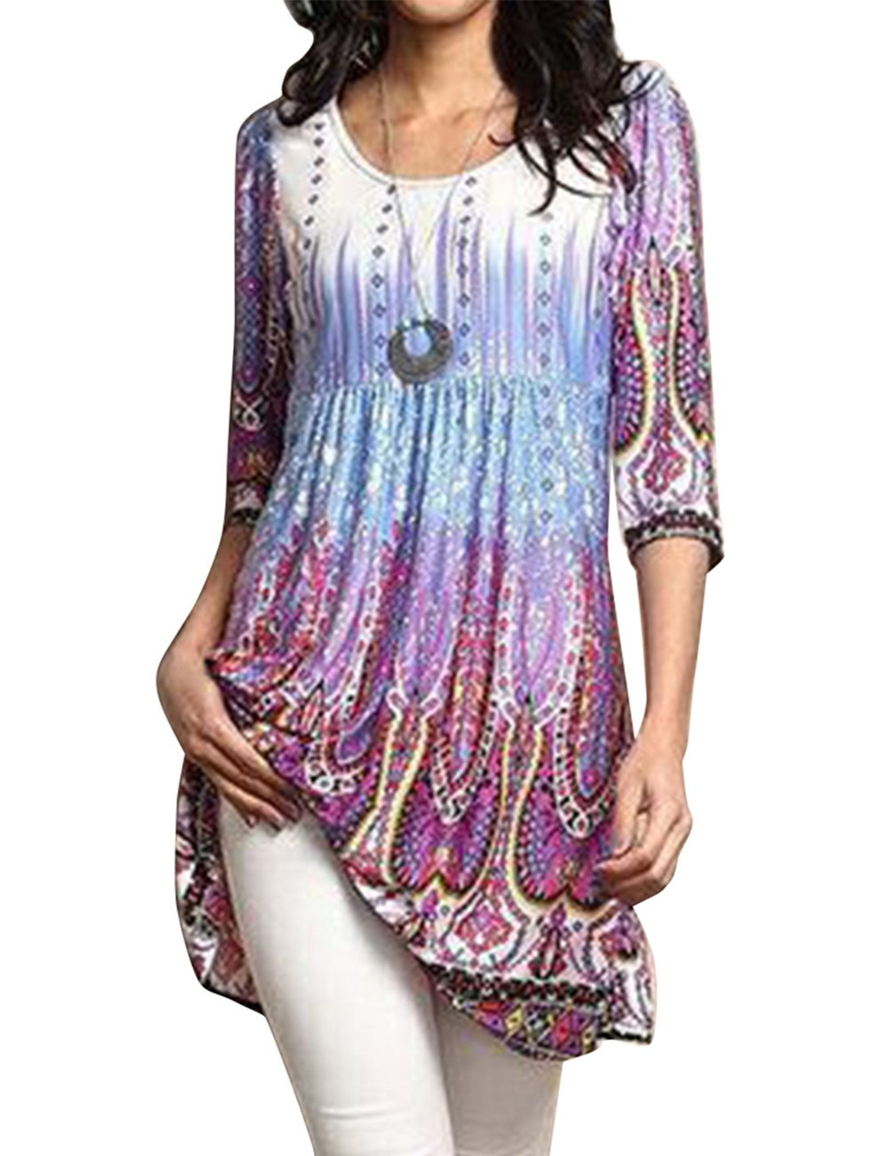 Shineya Womens Floral Vintage Printed Blouse Empire Waist 3/4 Sleeve Tunic Dress Tops Purple
